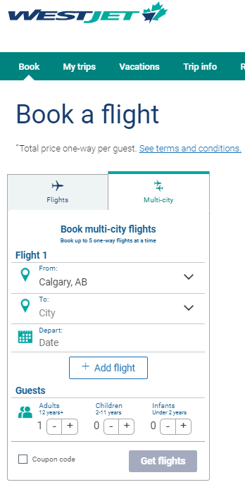 Westjet multi-city option