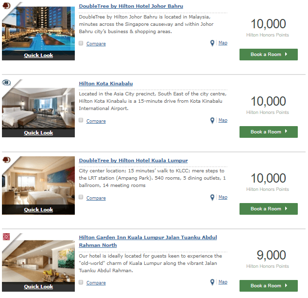 Hilton Malaysia properties required points for one night