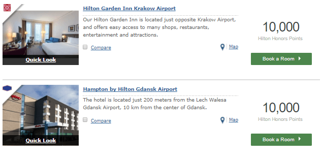 Hilton Poland properties required points for one night