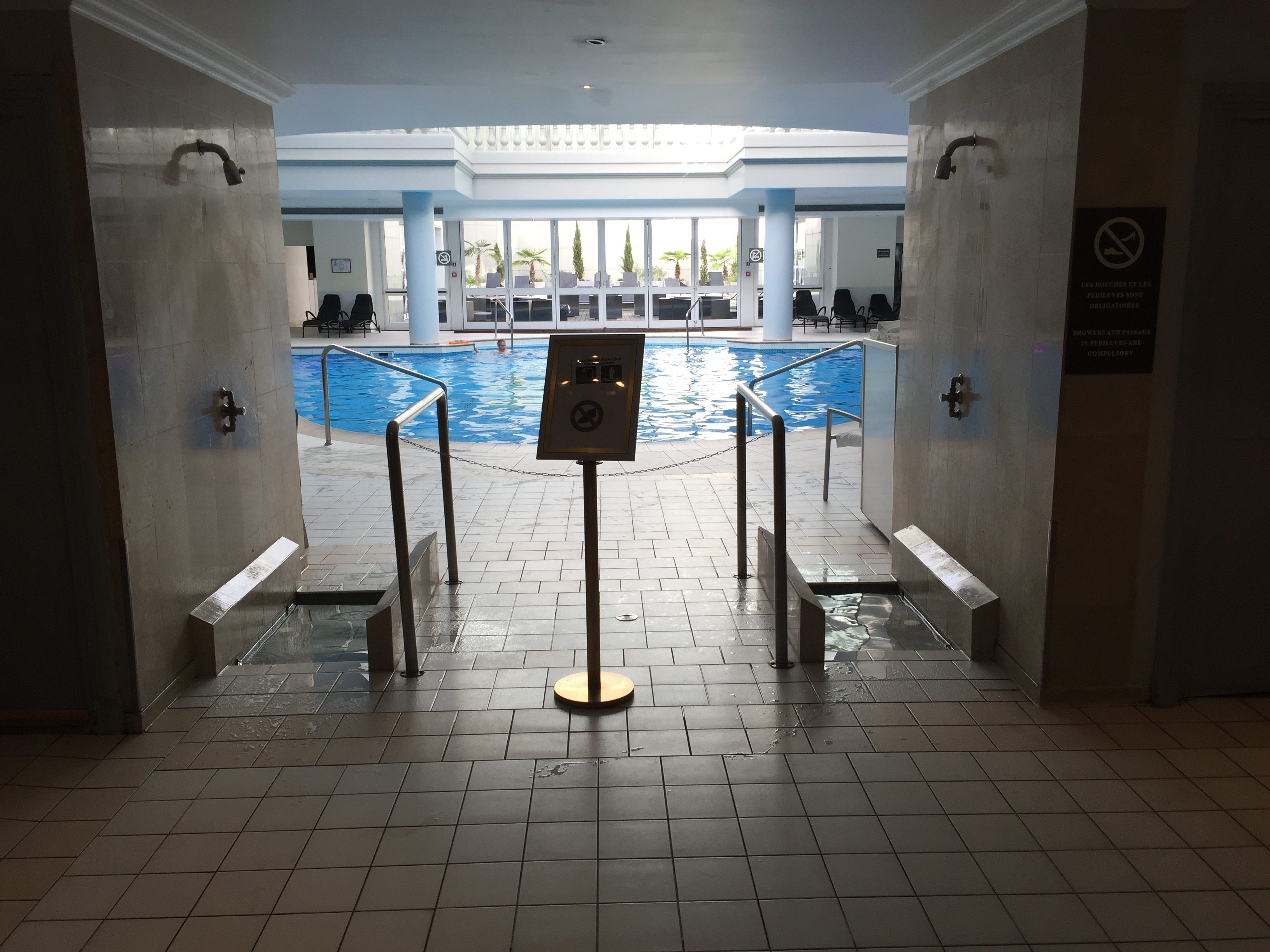 Trianon Palace Versailles swimming pool entrance