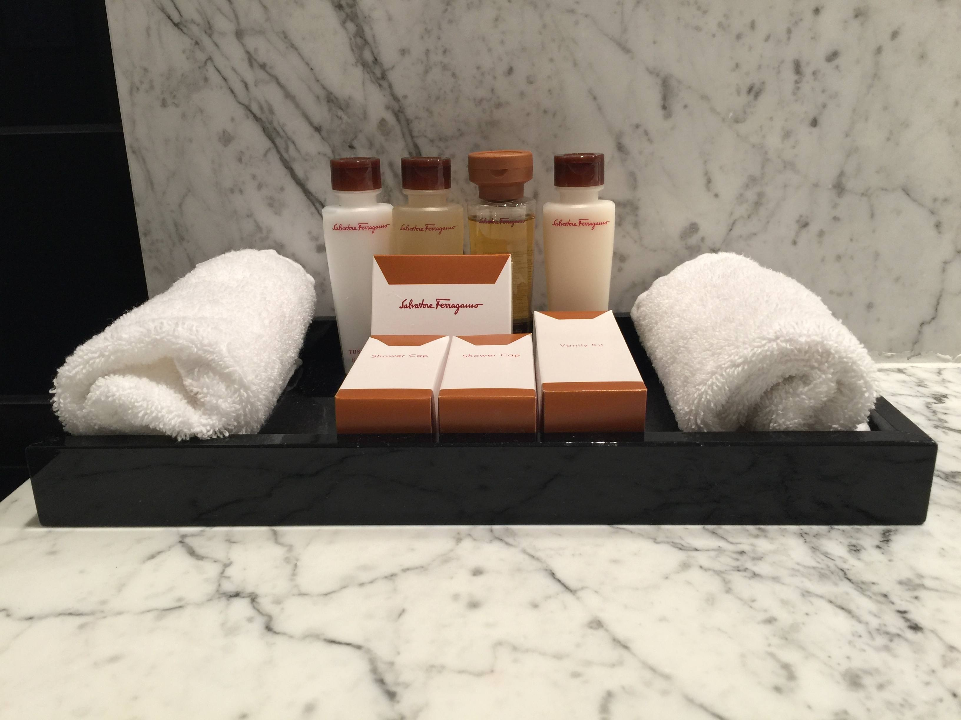 Salvatore Ferragamo bath amenities at Trianon Palace Versailles