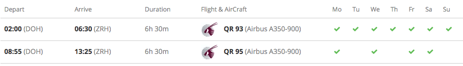 Doha-Zurich weekly schedule | Qatar-Airways