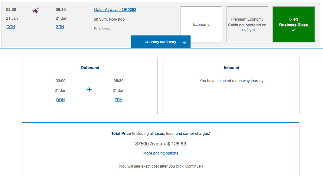 Doha-Zurich Business Class reward flight with British Airways Avios