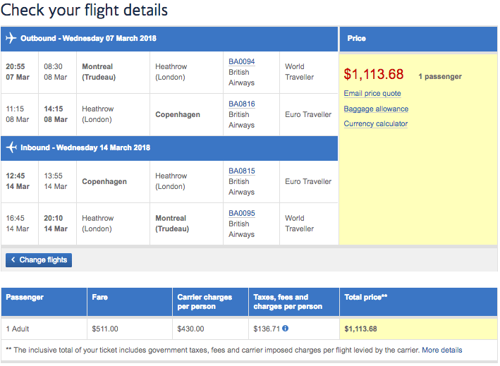 Price and flight details on British Airways Montreal to Copenhagen