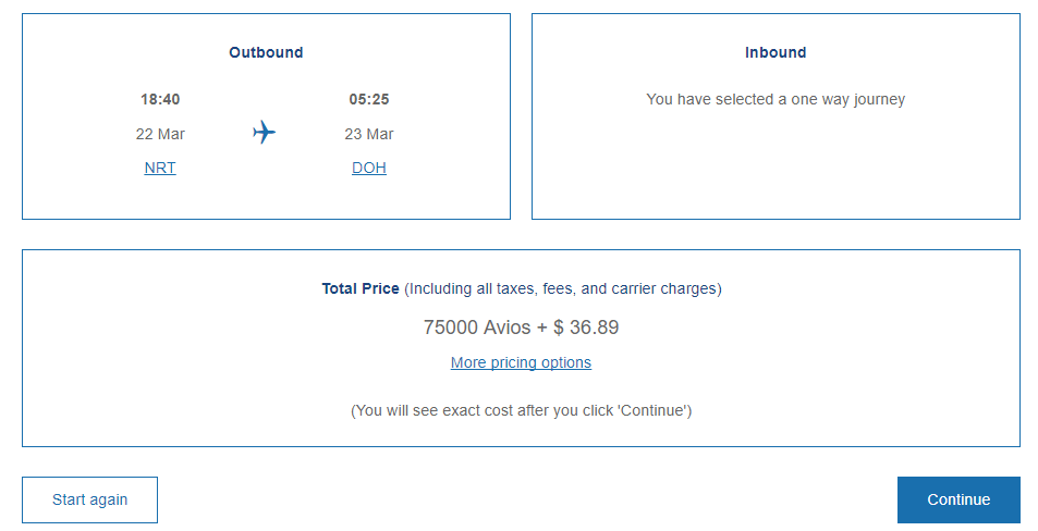 Tokyo-Doha Business Class flight redemption required Avios and charges