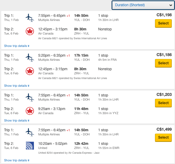 Expedia.ca interline multi-city results filtered by shortest duration