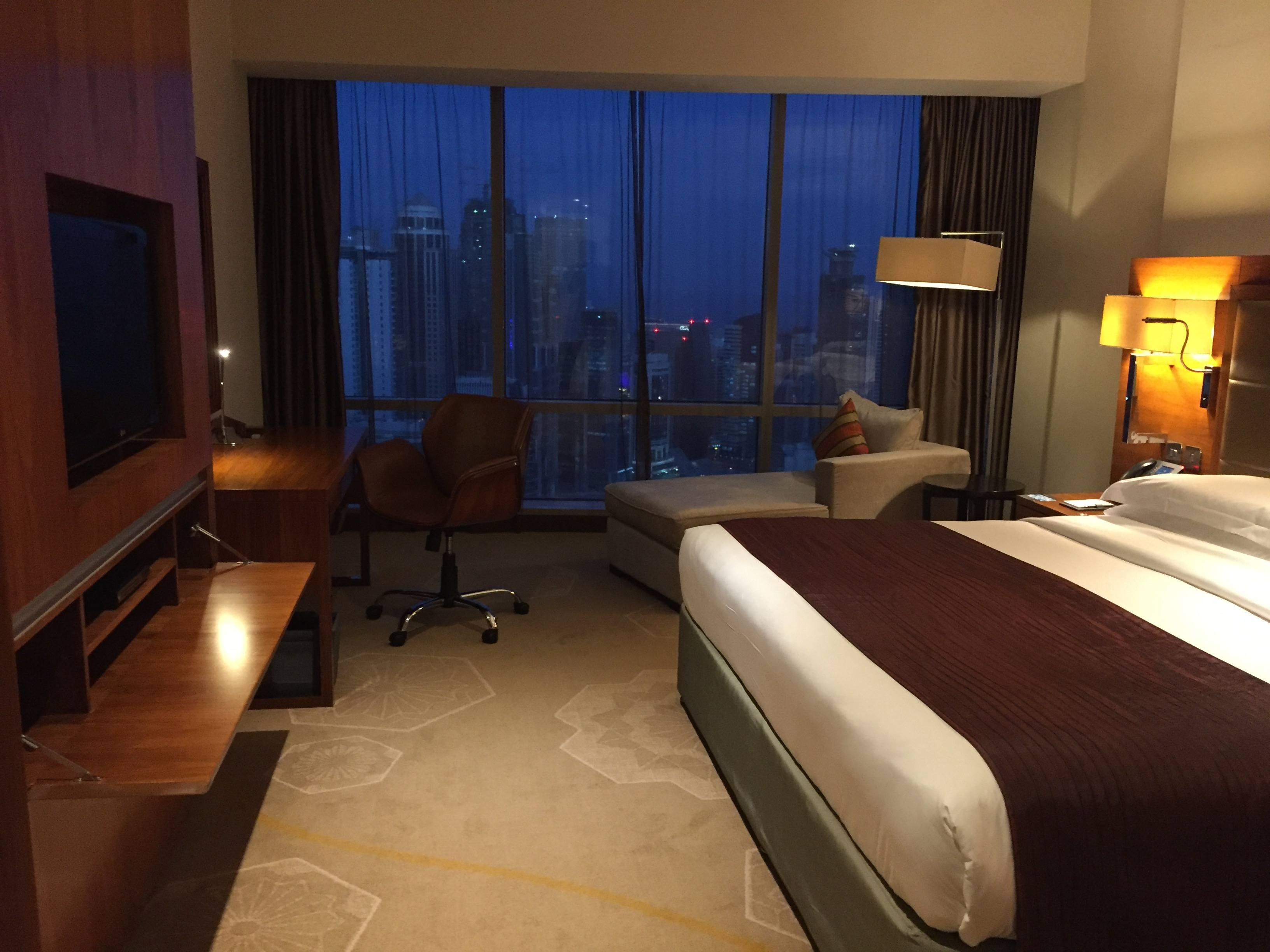 A spacious InterContinental Doha The City bedroom with the best view in town