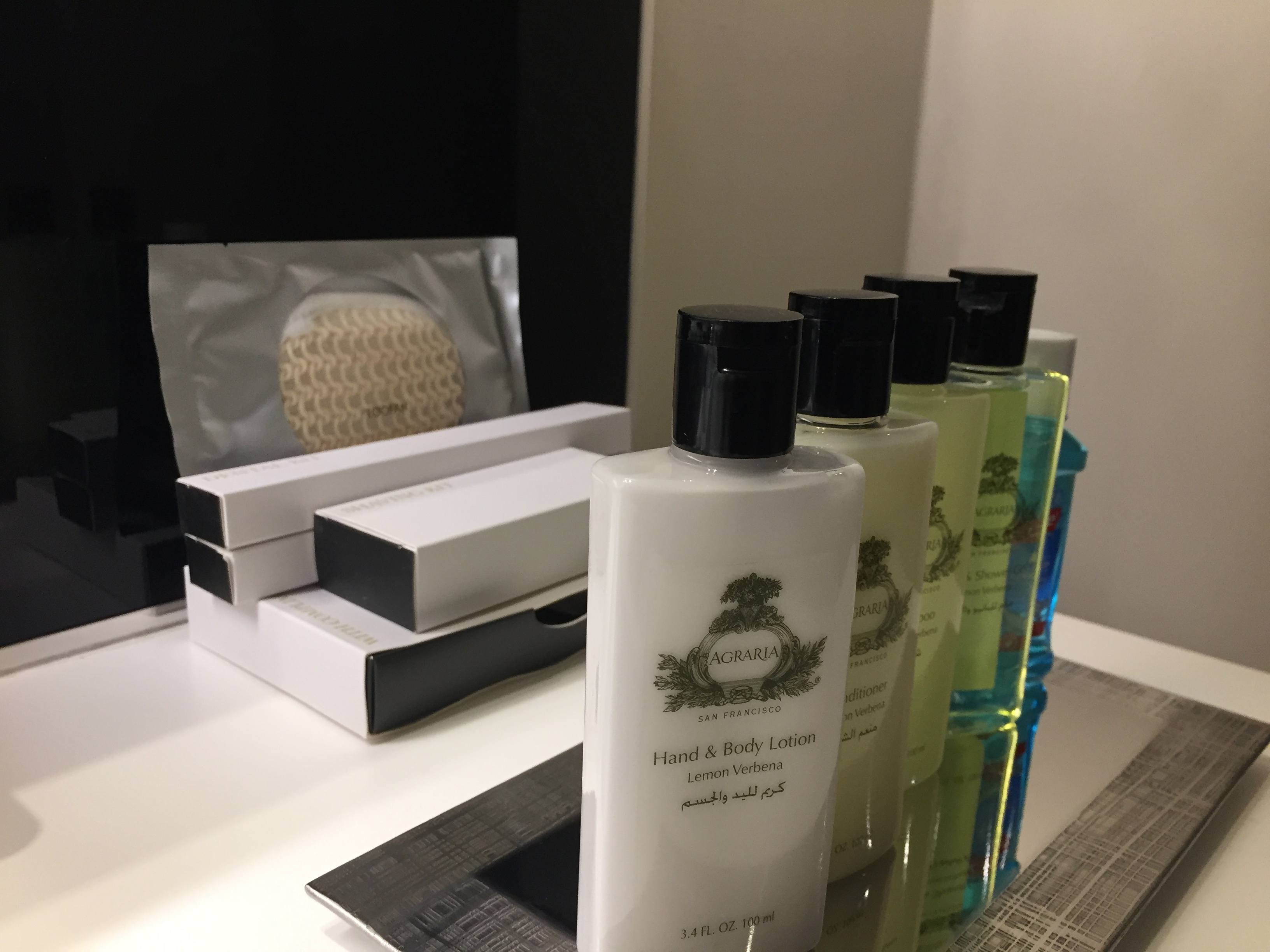 Agraria San Francisco bath and body gels and InterContinental Doha The City amenity kits