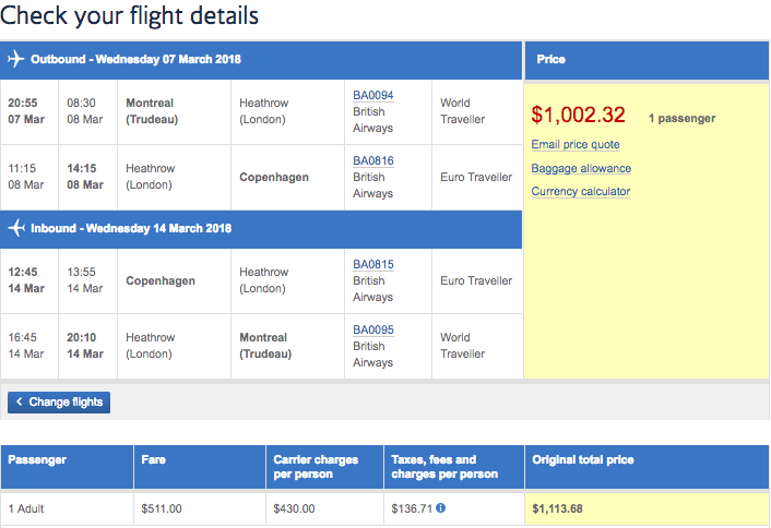 Price and flight details on British Airways Montreal to Copenhagen with 10% discount