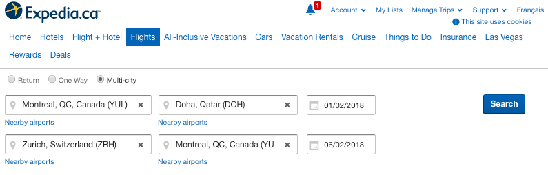 Expedia Multi City Flights And Hotels