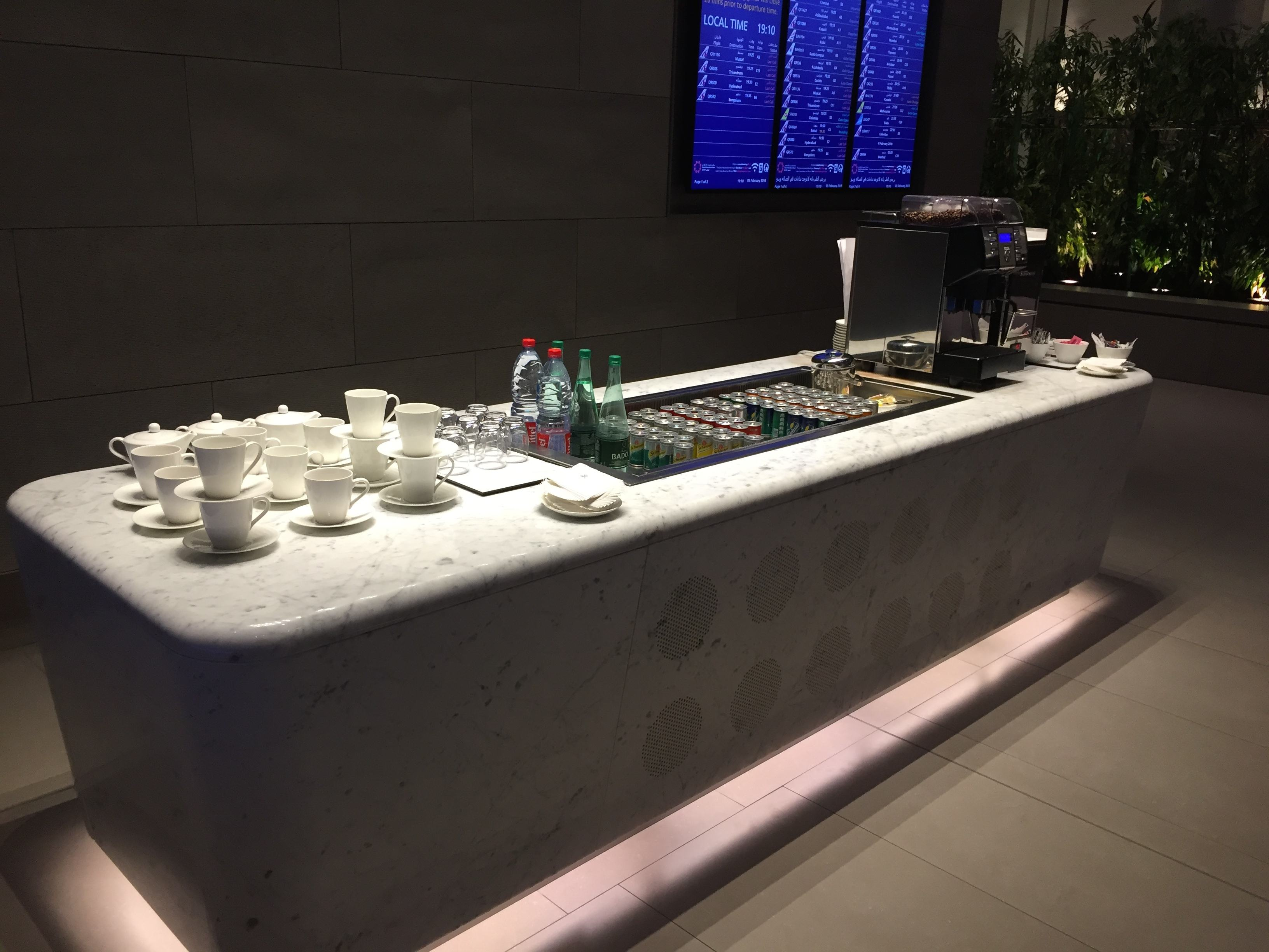 Drinks and coffee station at Al Mourjan lounge in DOH