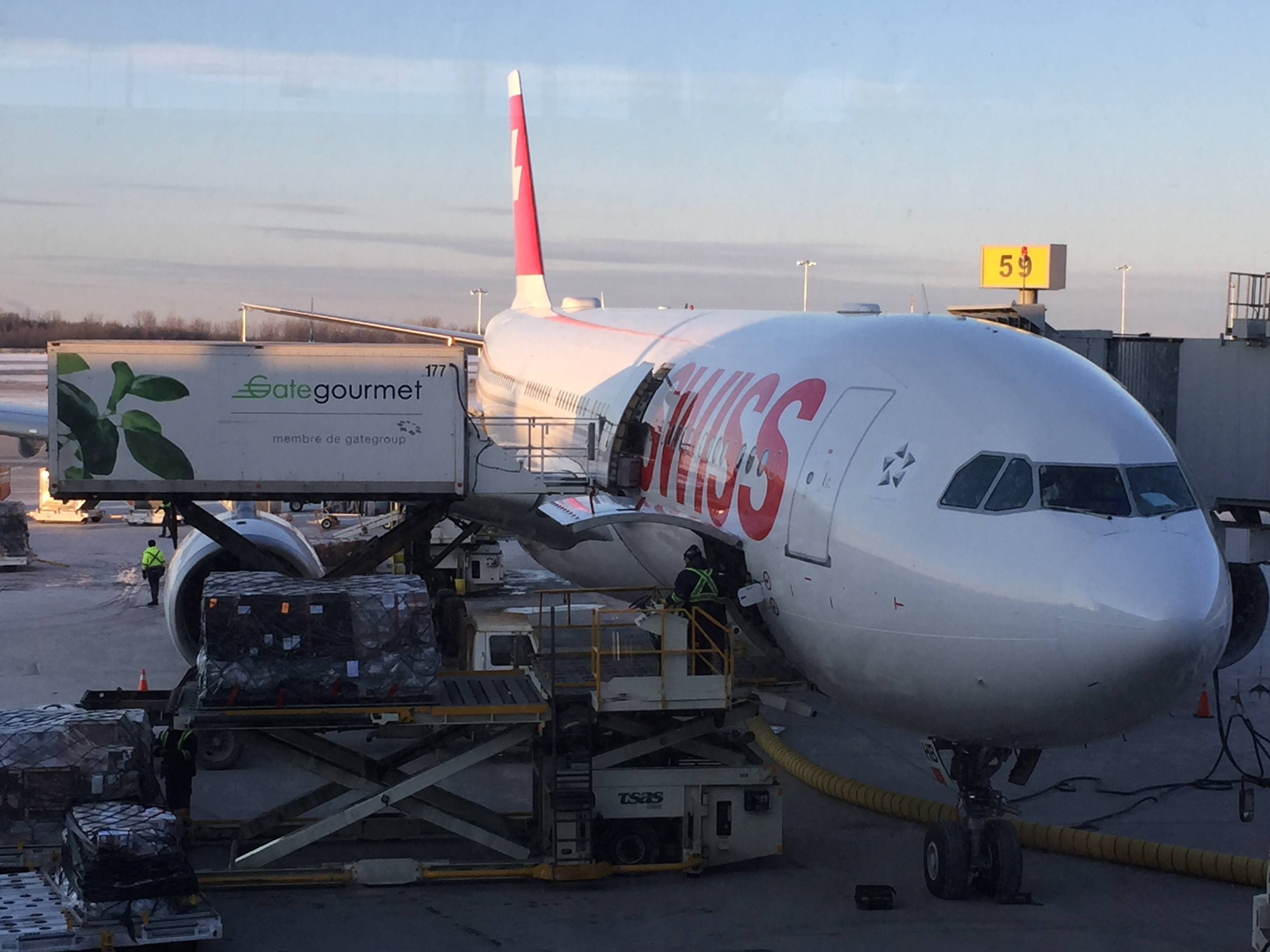 Swiss Airlines A330 aircraft at the gate - Montreal Trudeau Airport YUL