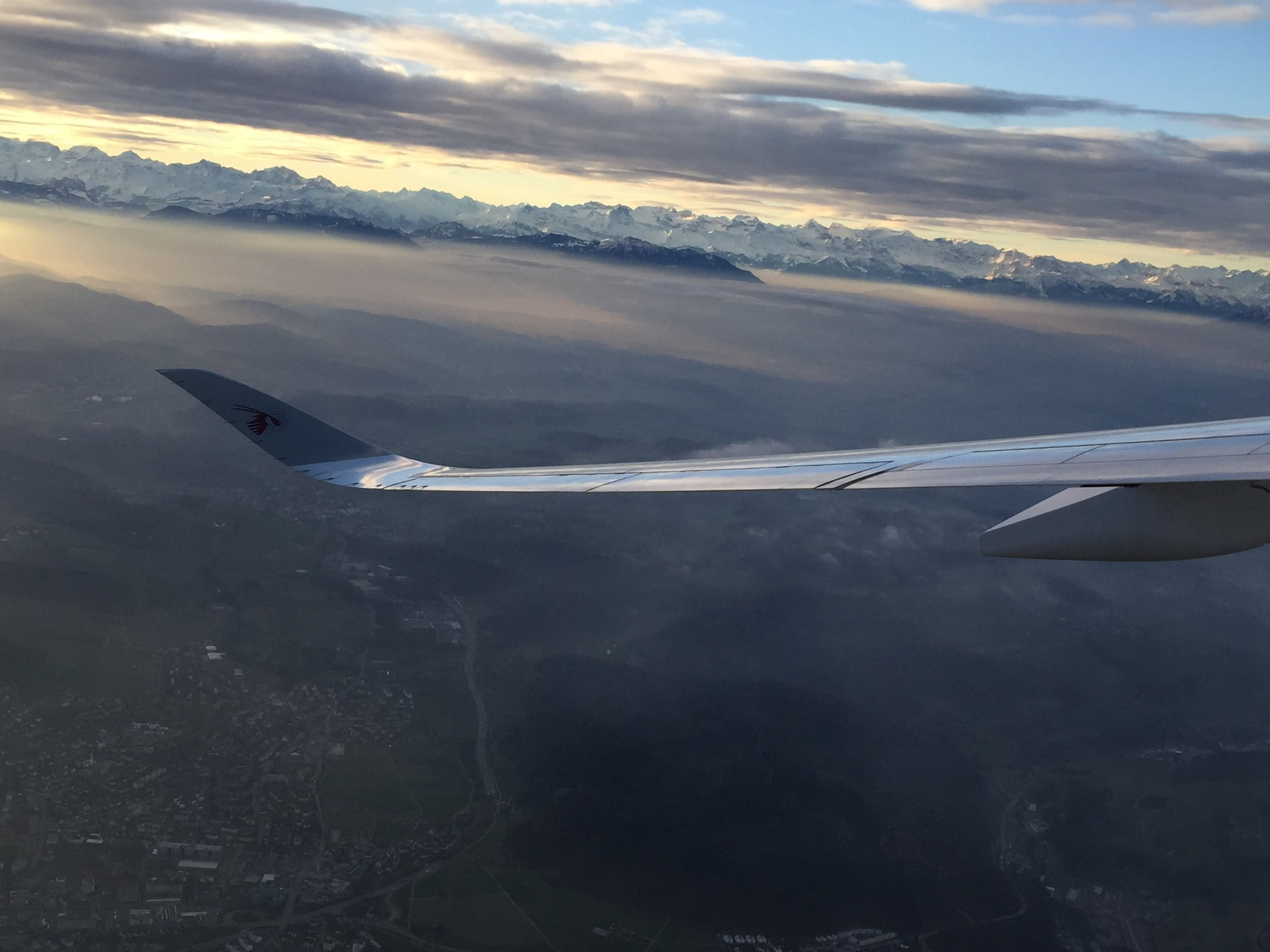 QR94 above the Swiss Alps