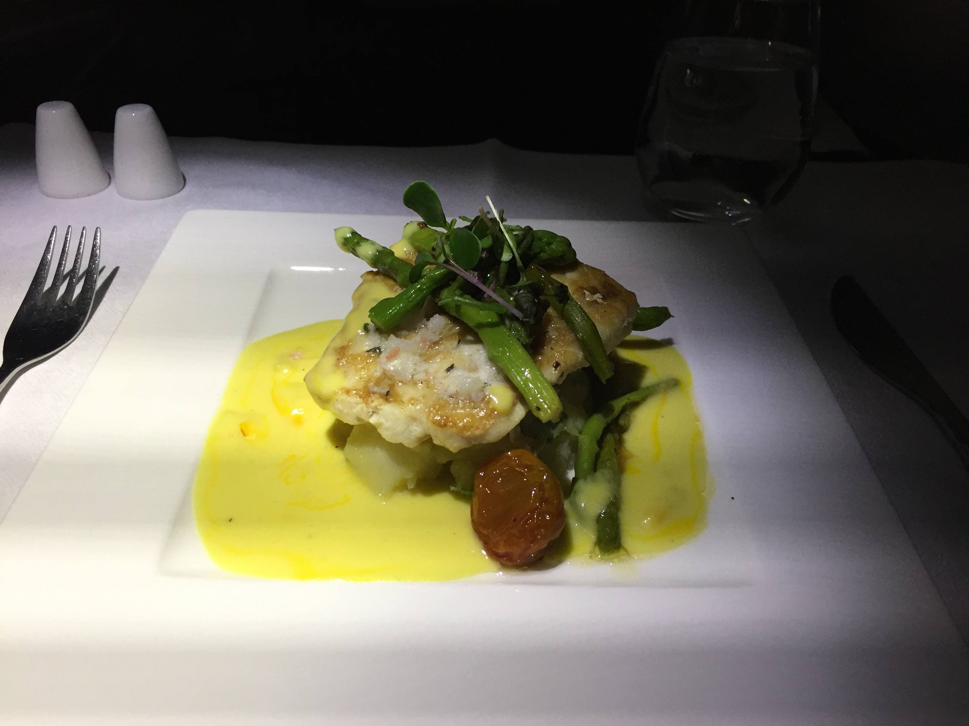 Qatar Airways Business Class main course: red snaper