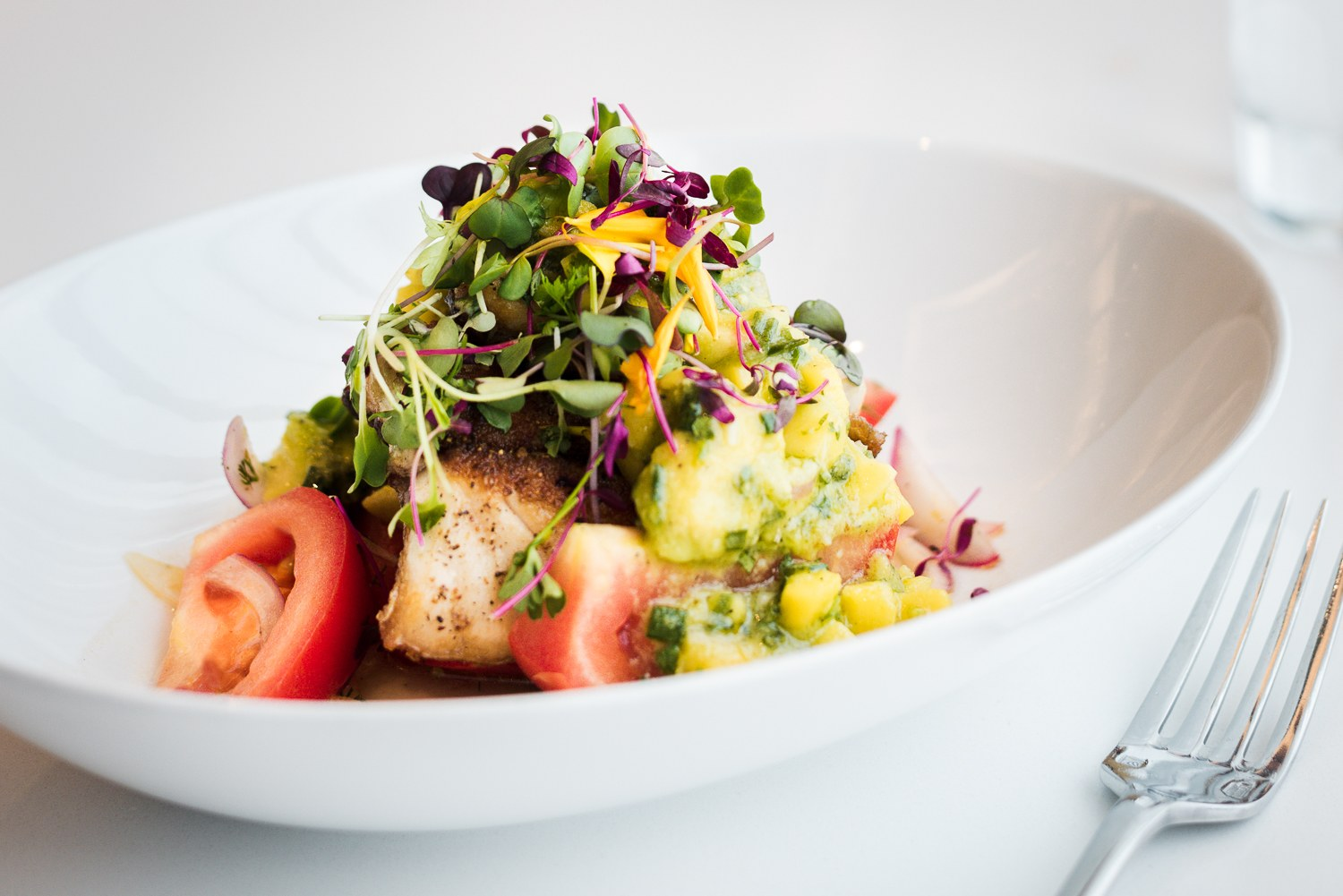 Fish of the day in avocado & mango sauce the table d'hôte menu | Bijou Resto | Bar - Photo credit: Audrey McMahon