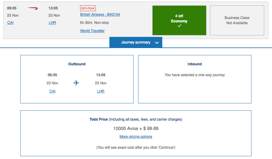 British Airways Cairo-London route at -50% Avios