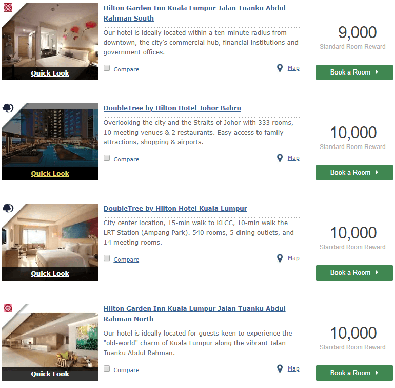 Hilton Honors Malaysia points per night