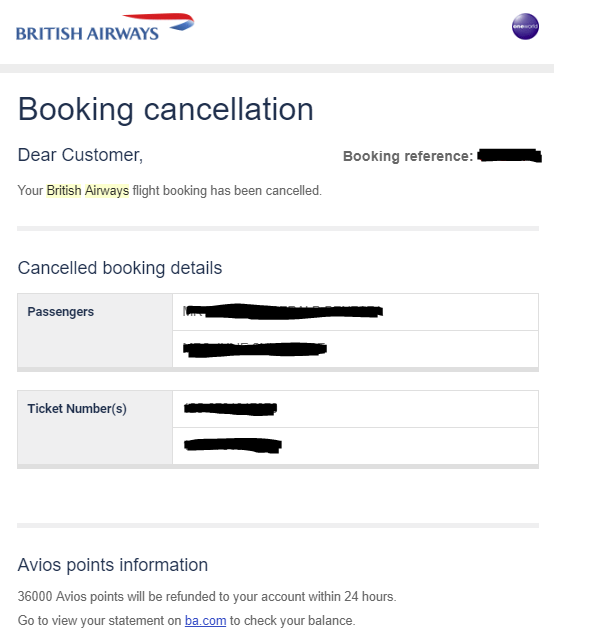 British Airways Executive Club reward cancellation confirmation
