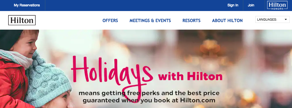 Hilton Honors main page