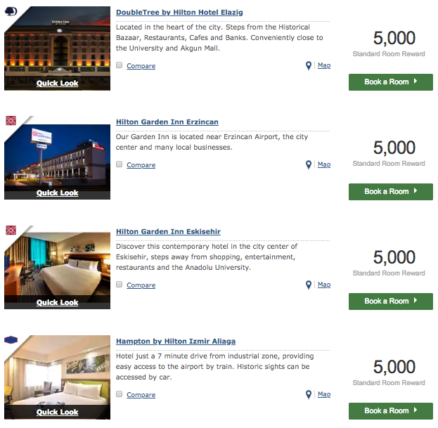 Hilton properties at 5,000 Honors points per night in Turkey