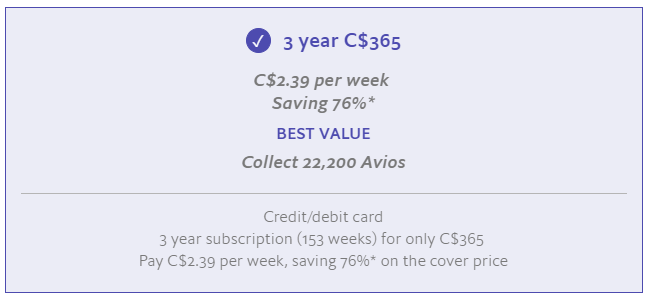The Economist Avios 3-year print subscription offer