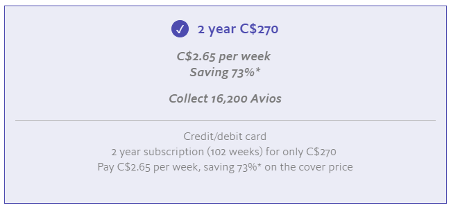 The Economist Avios 2-year print subscription offer