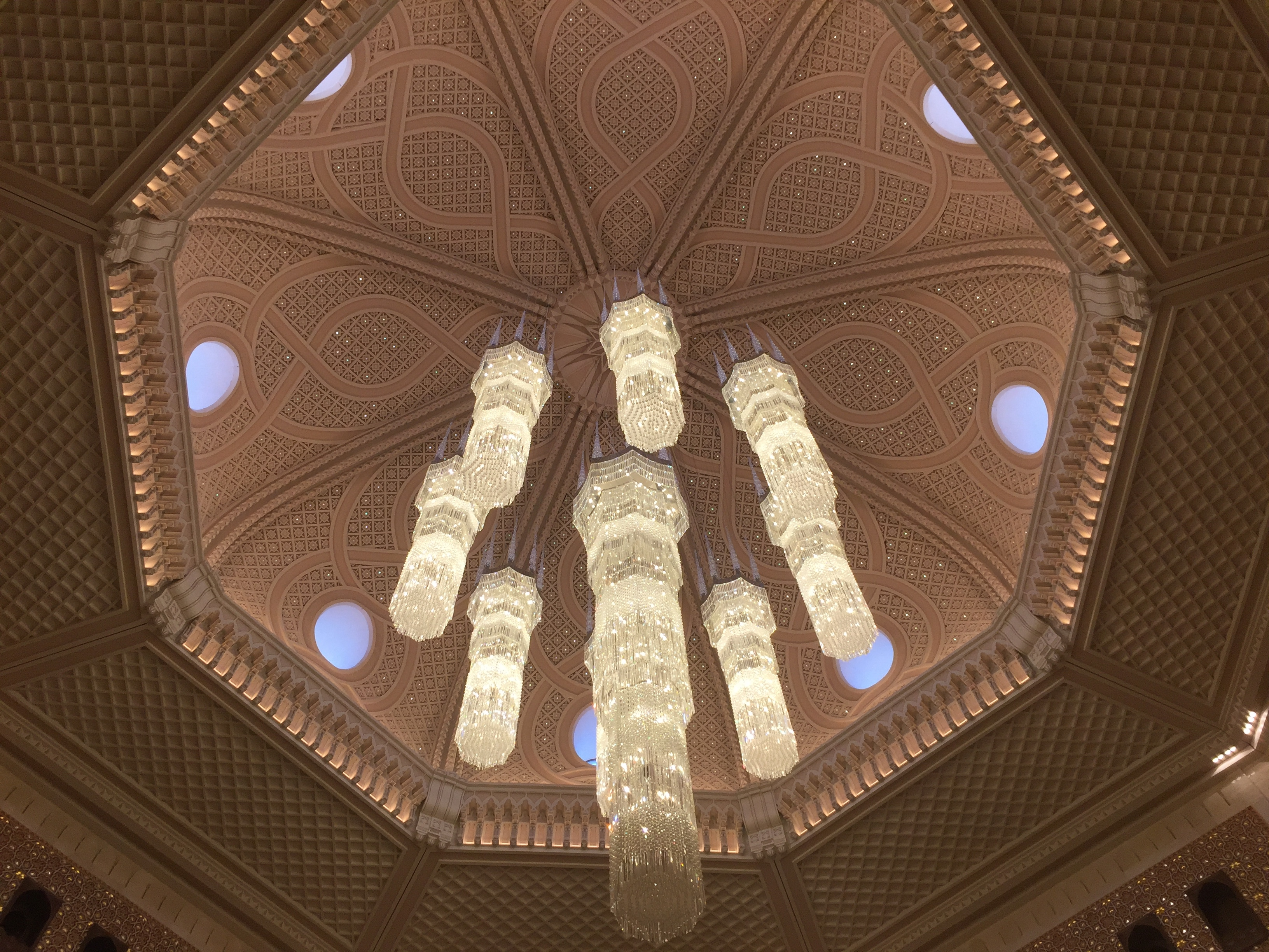 The famous crystal chandeliers - Al Bustan Palace Ritz Carlton Muscat