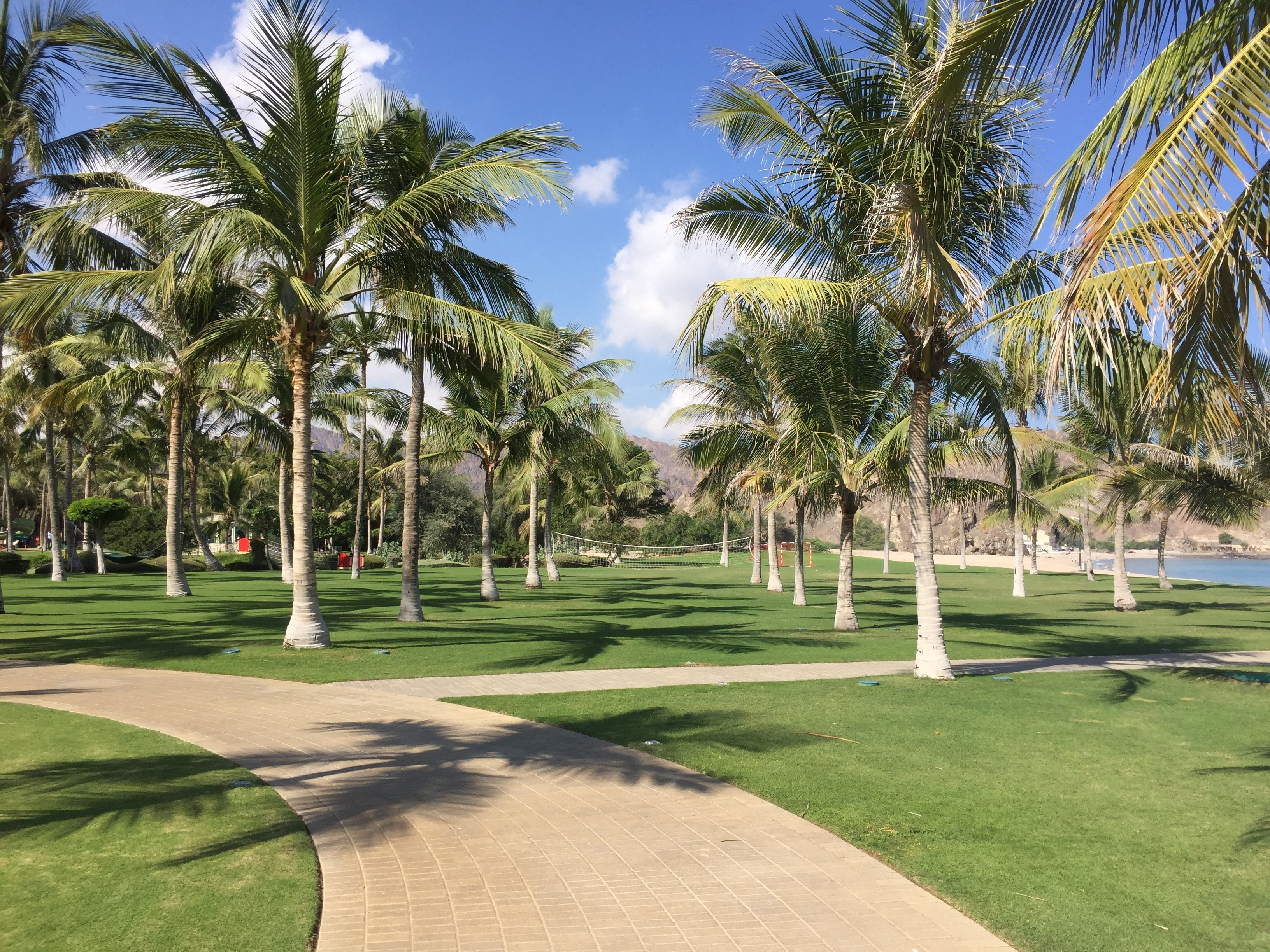 Resort gardens towards the Ritz Kids zone - Al Bustan Palace Muscat