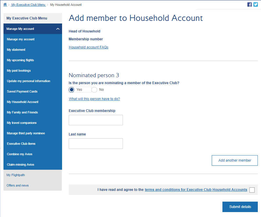 Add a Member - Household Account | BA Executive Club
