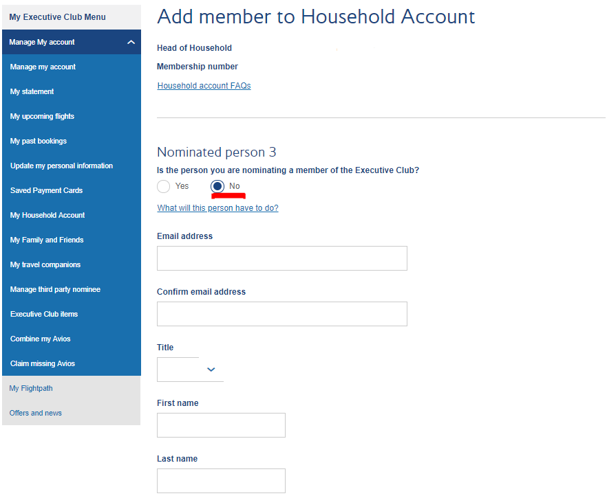 Add child to Household Account | BA Executive Club