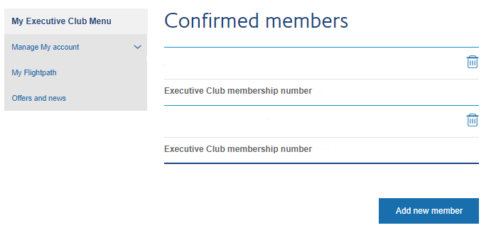 Edit your Household members | BA Executive Club