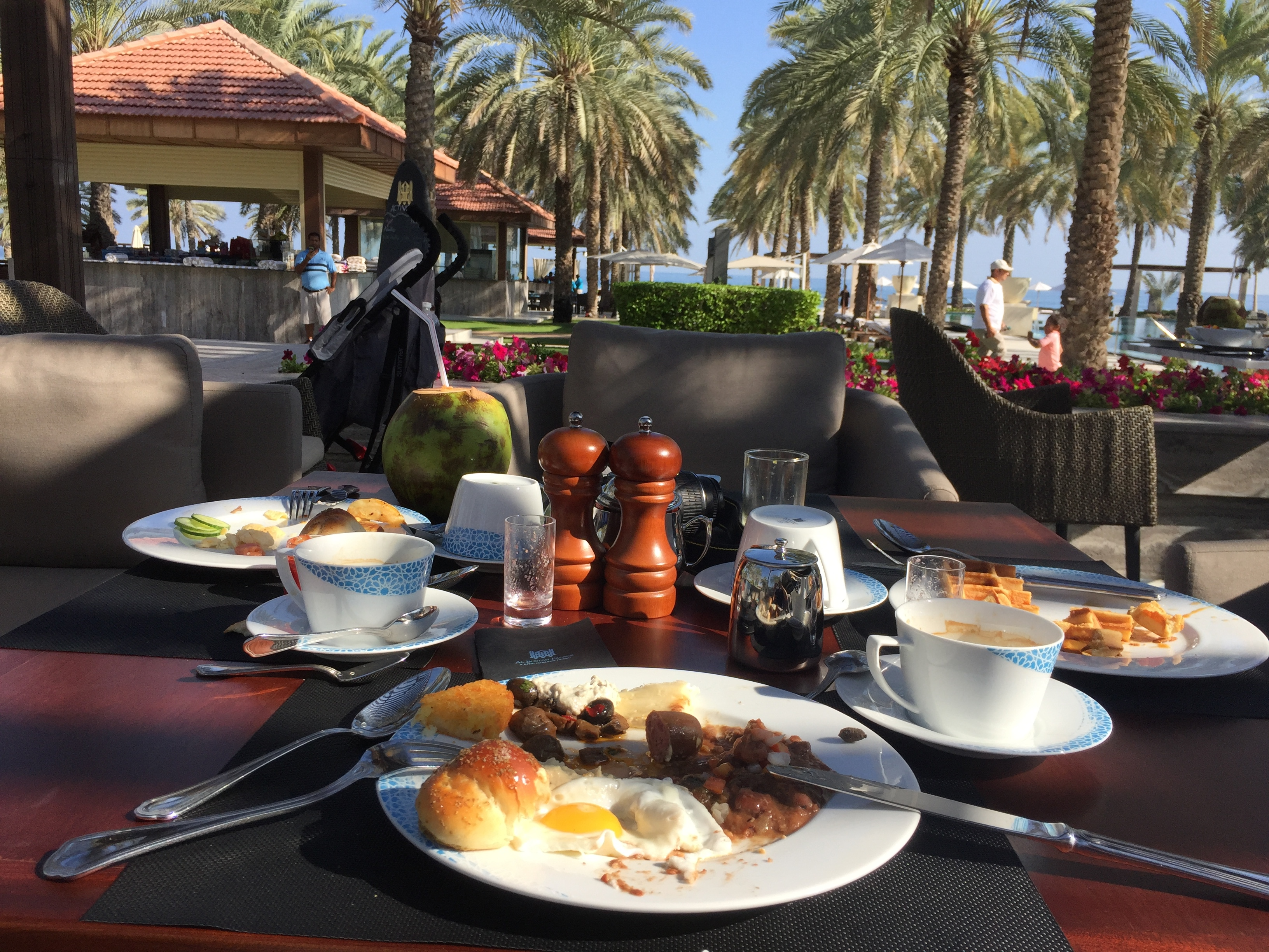 Al Khiran Kitchen pool side breakfast