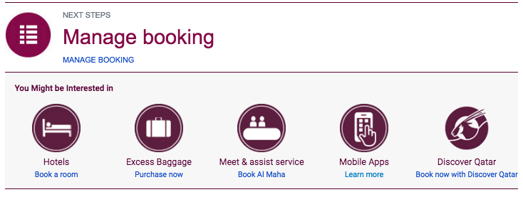 Qatar Airways Booking confirmation links
