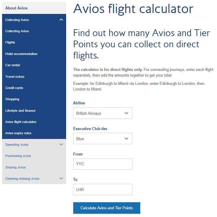 Avios calculator on ba.com