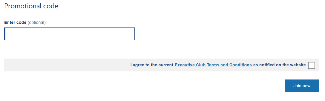 Promotional code - British Airways Executive Club