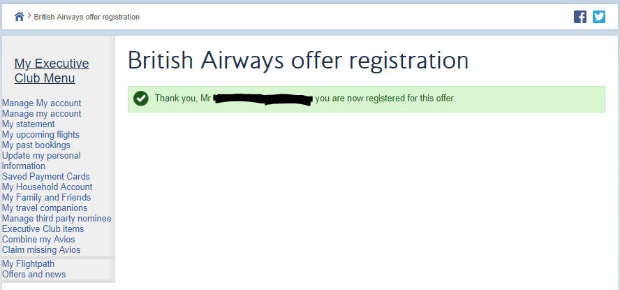 100% Avios offer registration confirmation - British Airways