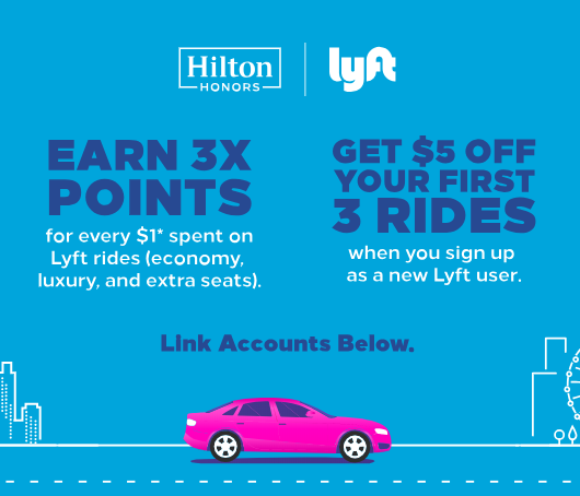Turn everyday rides into faraway stays Earn Hilton Honors Points on Lyft rides.