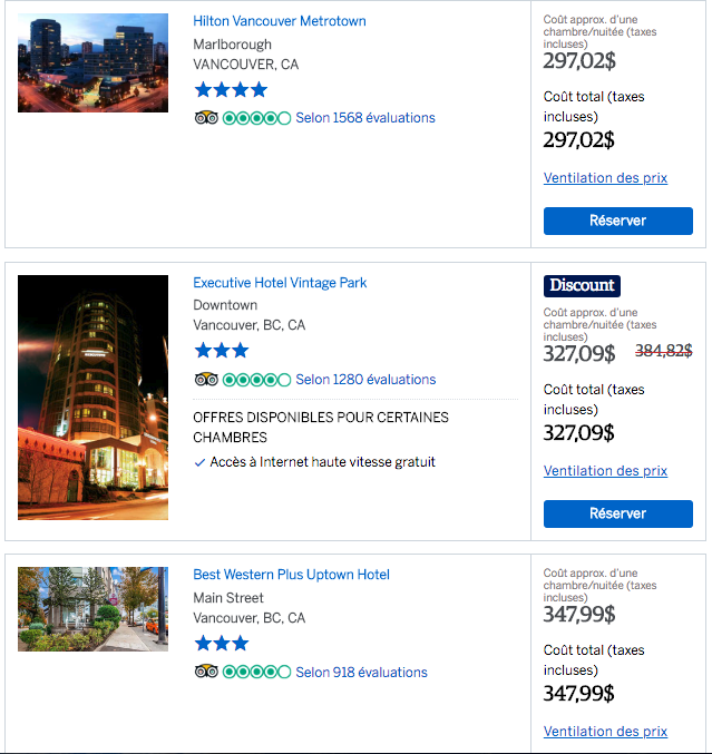 Vancouver one-night hotel rates in July 2019 (mid-week)