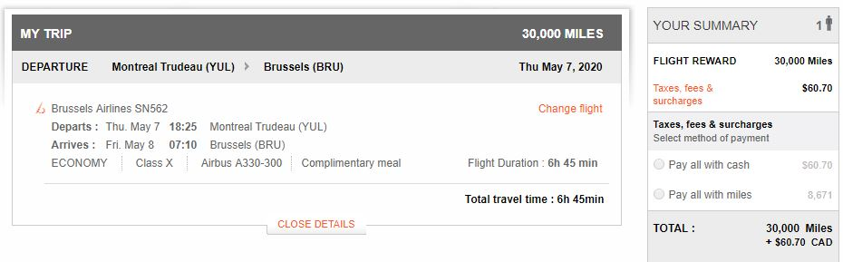 Brussels Airlines flight YUL-BRU with low fees