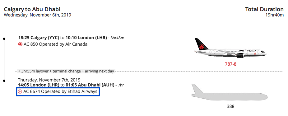 Air Canada/Etihad codeshare flight