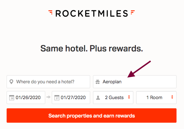 Make sure you choose Aeroplan in your Rocketmile booking
