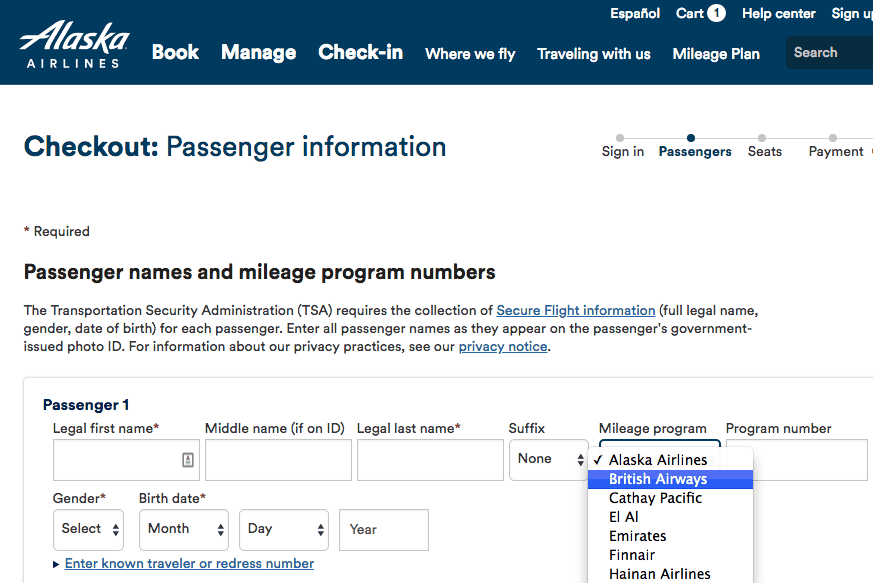 Alaska Airlines mileage program partner British Airways