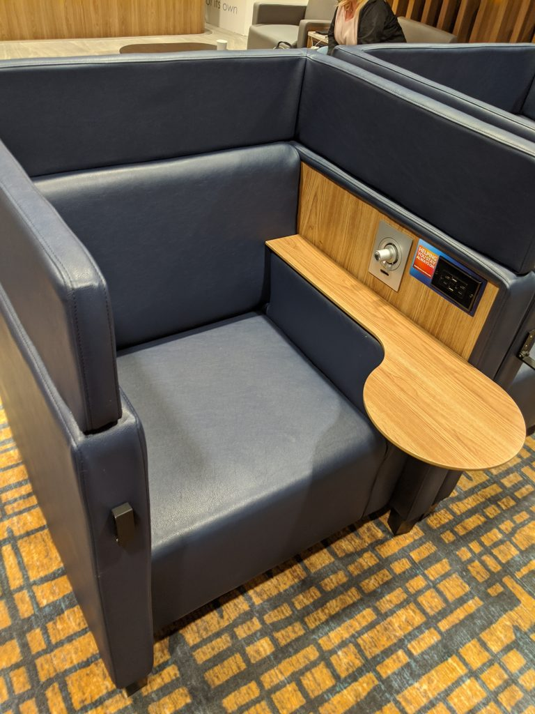 More detailed look of the private lounge single chairs - Plaza Premium Lounge Toronto Pearson [YYZ]