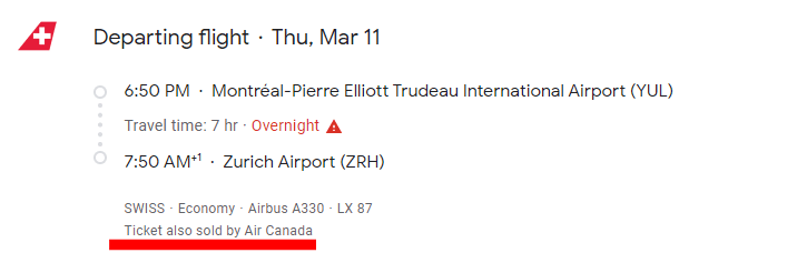 Montreal-Zurich trip summary AC6820 sold by Air Canada