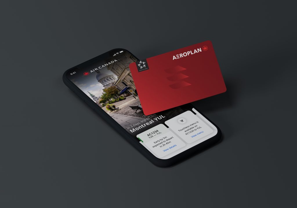 Air Canada app and Aeroplan card