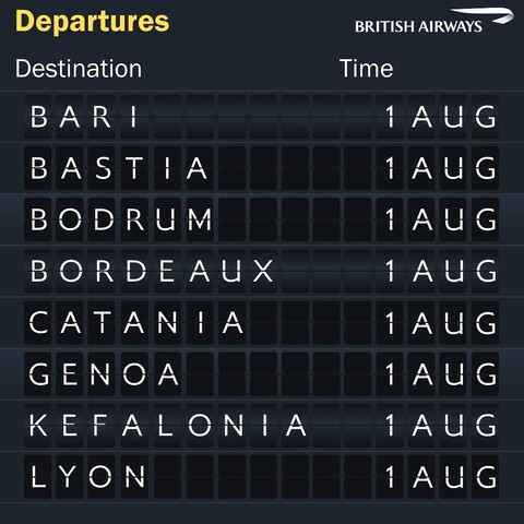 British Airways European summer destinations board