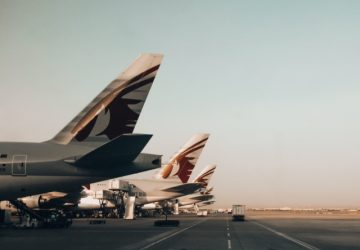 Qatar Airways airplanes tails at Doha Airport