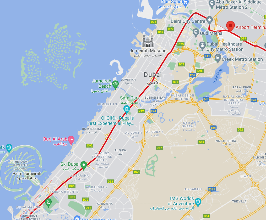 Dubai metro Red Line crosses the city from North to South