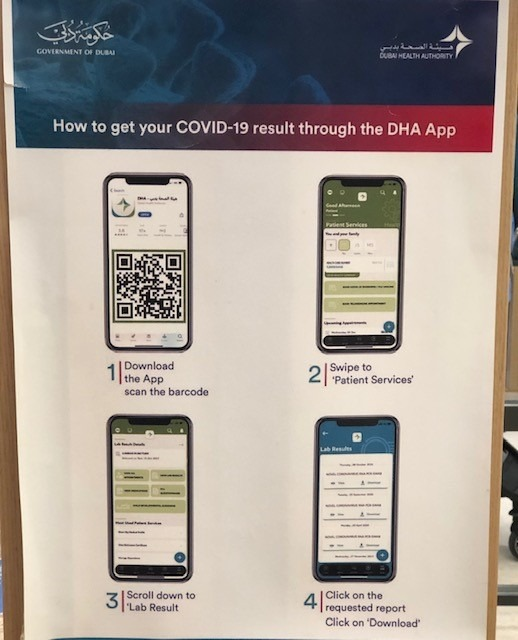 Dubai Health Authority (DHA) App poster at Mall of the Emirates